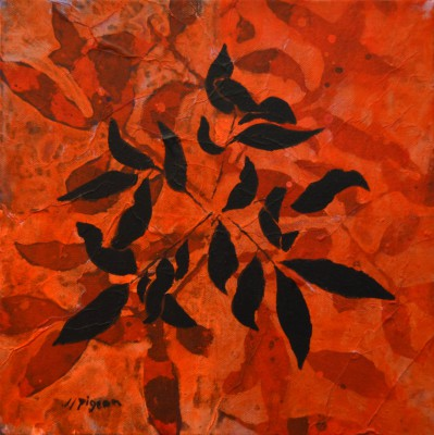 Peinture d'effeuillage noir sur orangé 2011 30/30