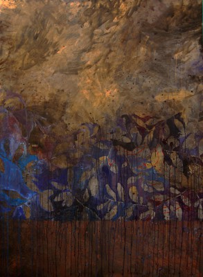 Peinture effeuilllage dans le noir et l'or 2008 230/170